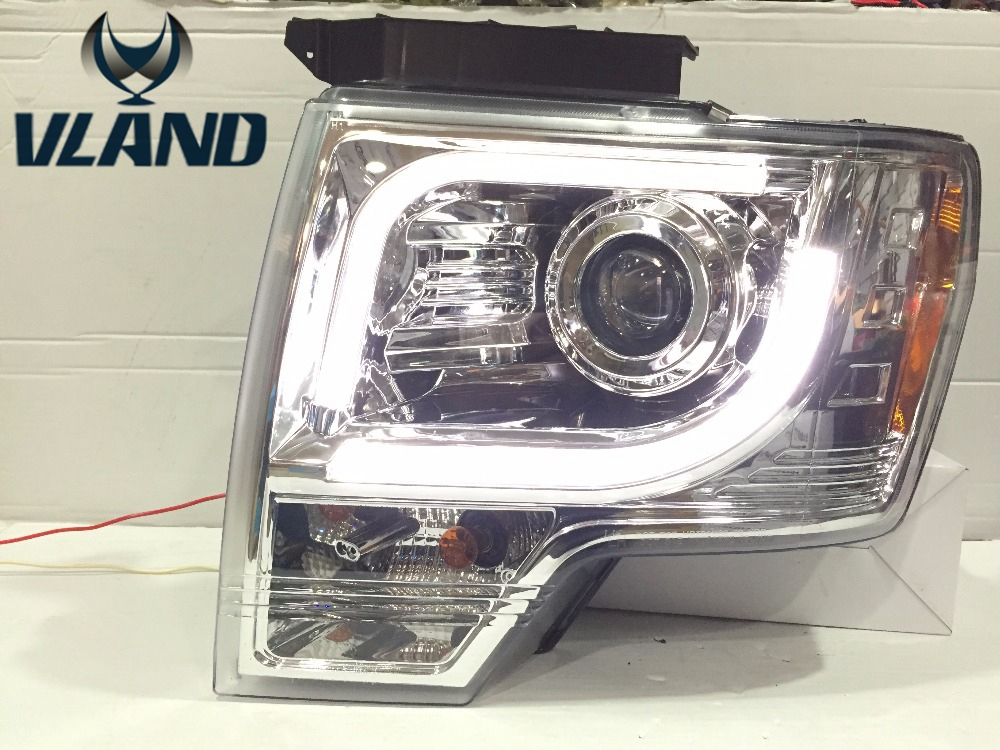 Free shipping vland factory For FORD F150 Raptor LED Strip LED Turn signal led Head Lamp Headlights front light 2008 2009 2012 for 2013 2014 year for ford raptor f150 led strip head light with full led turn signal light black color