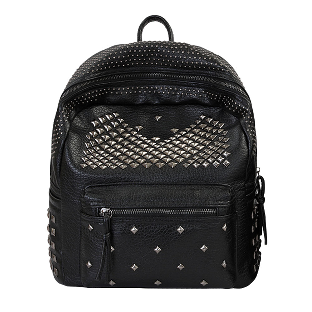 где купить Fashion Washed PU Leather Backpack Rivet Backpack Women Travel Bag School Bags for Teenage Girls Satchel  Bolsa Mochila feminina по лучшей цене