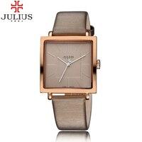Luxury Rose Gold Antique Square Leather Dress Wrist Watch 2017 JULIUS Quartz Brand Lady Watches Women