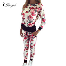 Fashion Women Sweatshirt Sportswear Autumn Winter Printed Flower Tracksuits Long-sleeve Casual