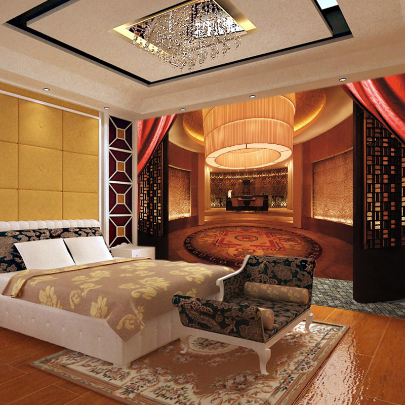 Custom spatial elements of the new Chinese luxury bedroom space extending non woven 3D