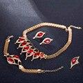 Позолоченные Красный AAA Цирконами Ювелирные Изделия Устанавливает Женщины Комплект Ювелирных Изделий На Свадьбу 11.11 Африканский Комплект Ювелирных Изделий Заявление Ожерелье