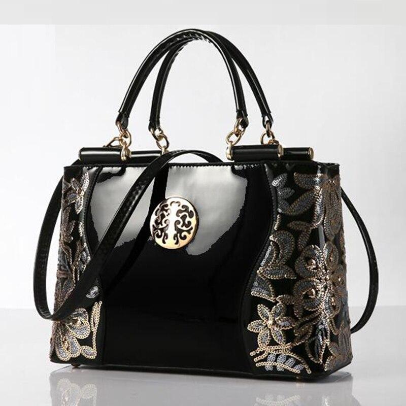Elvasek  new women leather bags fashion women handbags embroidery style print handbags women messenger bag pouch LS7354