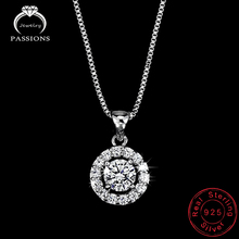 Hot Sale 925 Sterling Silver Round Shape CZ Pendant Necklace Clavicle Necklace Female Charm Fine jewelry For Women Party
