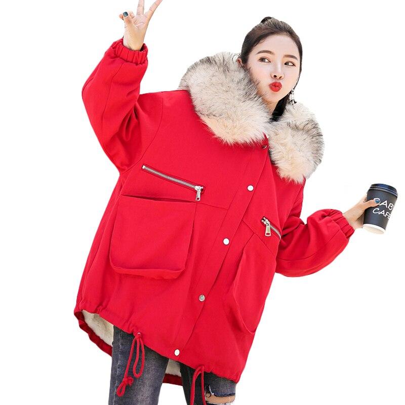 Más Parka Chaquetas Invierno Brillantes Tamaño Chaqueta Moda Outwear Grueso  Rosado Larga Señoras Abrigo Colores Mujeres ... 1886a0a317ba