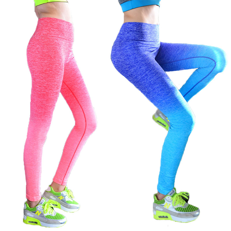 High Gym Sport Leggings Gradient Elastic Women lulu Yoga Pants Compression Tights Fitness Women Night Running Sportwear Trousers