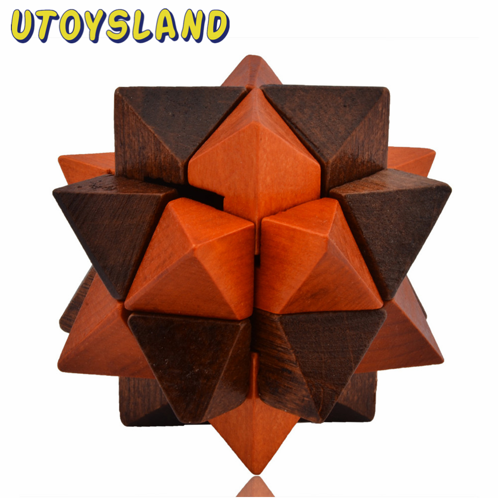 Utoysland Classical Intellectual Toys Pineapple Water Chestnut Style Wooden Puzzle Cube Kong