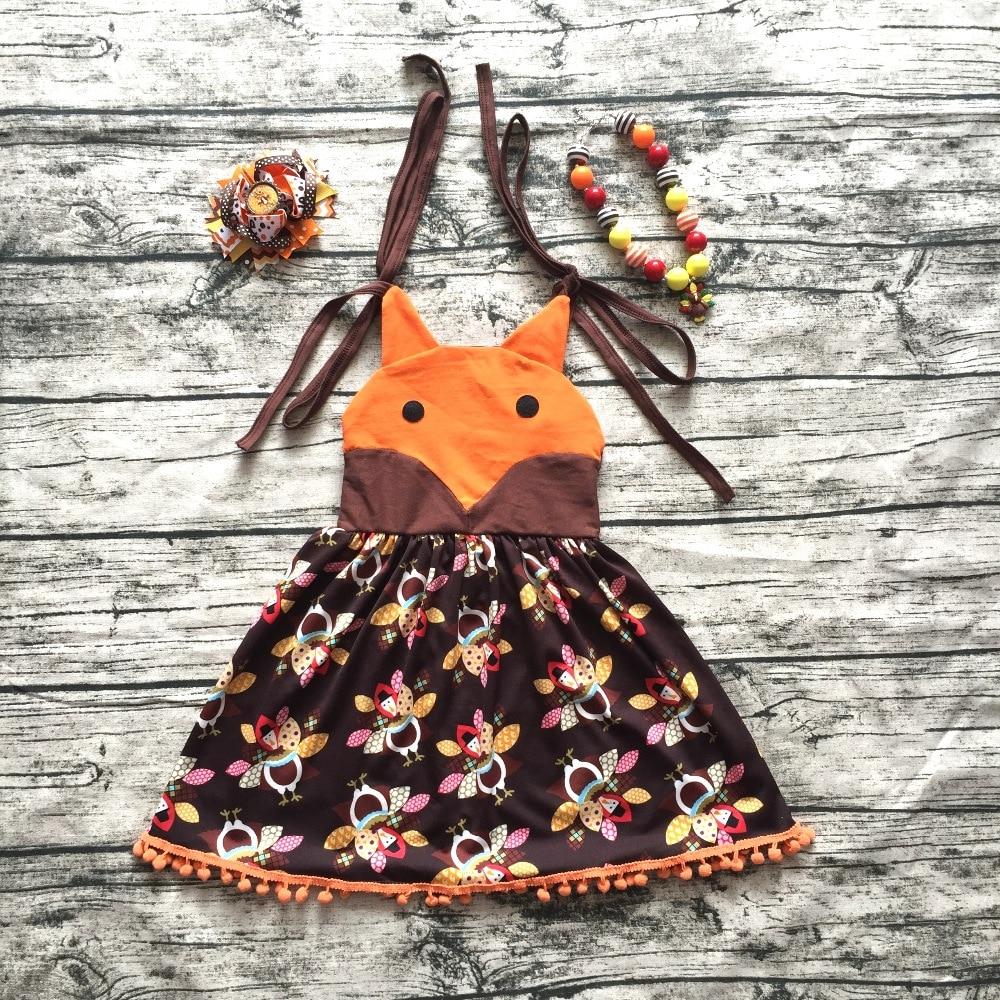 2017 girls summer dress kids party dress children fox turkey dress boutique brown thanksgiving dress with neaklace and bows