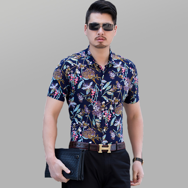 Mens floral shirt short sleeve hawaii beach shirt slim fit for Mens slim hawaiian shirt