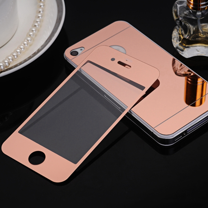 ca6b164d2ff 2Pcs Front+Back With LOGO Hole 4/4S Mirror Tempered Glass For iPhone 4 4s 6  7 8 Screen Protector Color Plate Film Case (NO LOGO)-in Phone Screen  Protectors ...