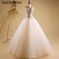 Giá rẻ Hàn Quốc Đơn Giản Trắng Ren Wedding Dress 2016 Cộng Với Kích Thước Vintage Belt Bridal Bóng Gown Vestidos de Novia Dress