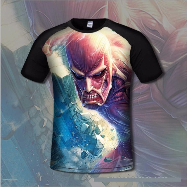 3D Print Lycra Cotton Attack on Titans Men's T shirt Comfortable Anime T-shirts Casual gamer Clothing flexib short sleeve shirt