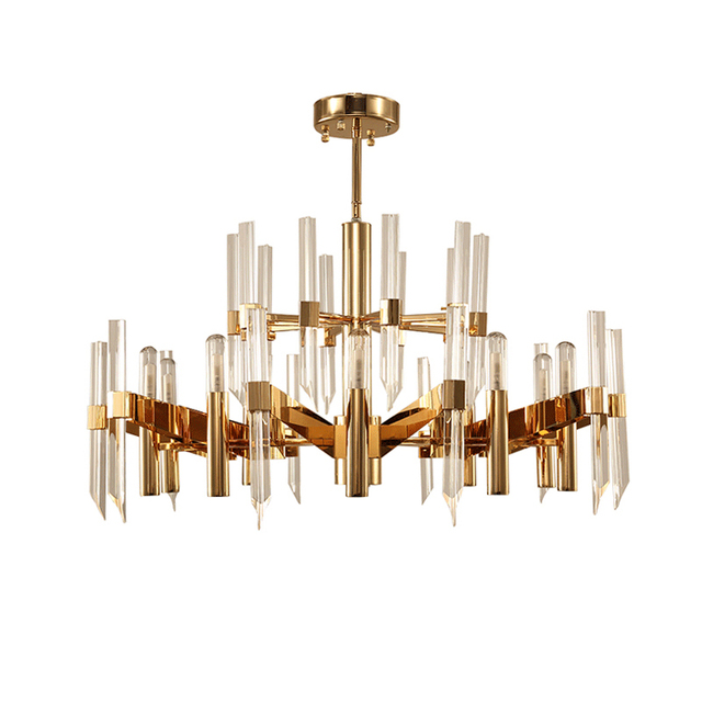 Nordic Crystal Chandelier American Glass Long Strip Of Led Lights For The Modern Living Room