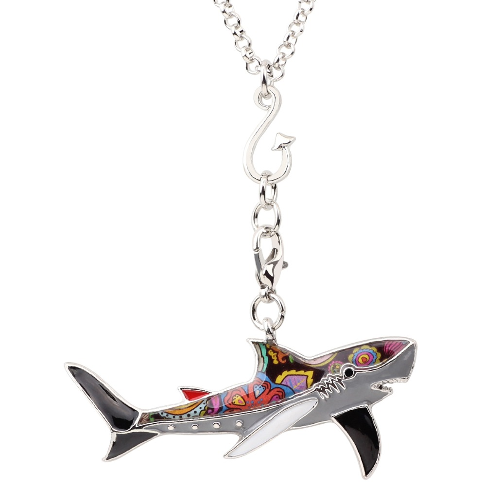 Bonsny statement maxi enamel metal fish shark necklace pendants bonsny statement maxi enamel metal fish shark necklace pendants chain fashion ocean animal jewelry for women girl accessories in pendant necklaces from aloadofball Gallery