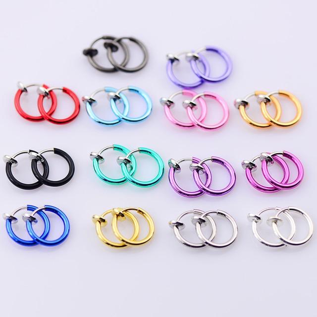 Sale 1Pair Multicolors Small Simple Circle Earrings for Women Men Fake Lips Ear Nose piercing Unique Exquisite Ear Clip 1
