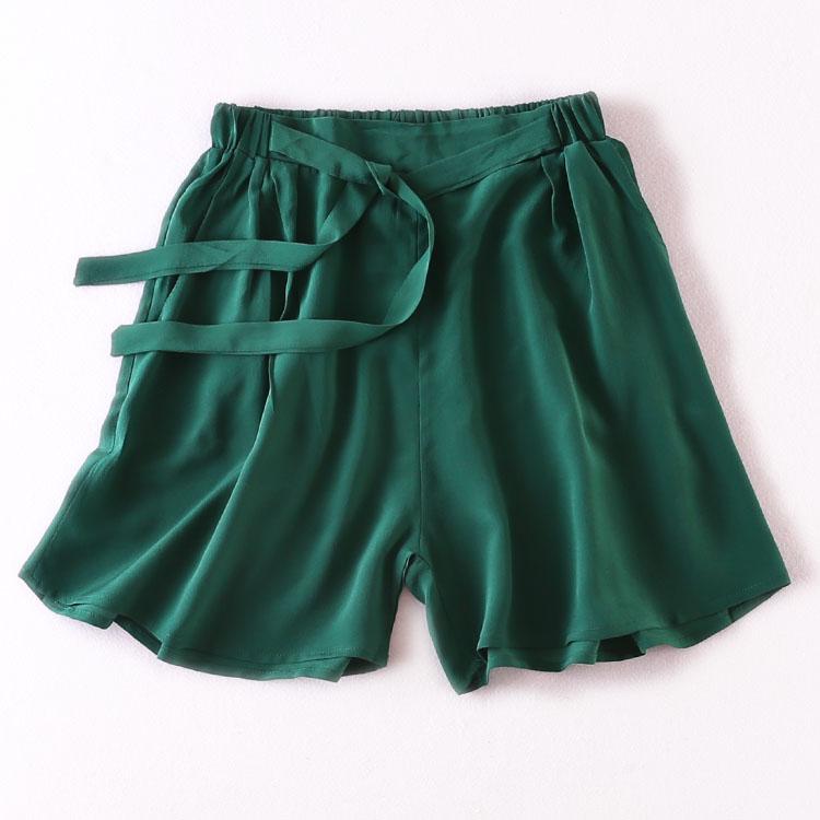 Women Summer Silk   Shorts   Pocket Shot Summer Elastic Waist Satin   Shorts   for women multi-color Trousers Natural silk   Shorts