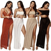Knitted Beach Dress Swimsuit Women Summer Beach Wear Bikini Cover Up long Hollow Out Skirt Bohemia Sexy Vestidos Black White