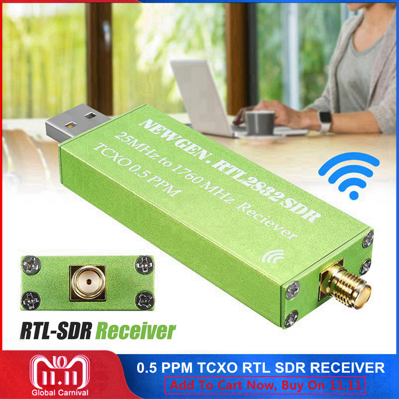 0.5 PPM TCXO RTL-SDR USB AM FM Software Defined Radio Receiver Scanner RTL SDR RTL2832U R820T2 Android TV Tuner Stick SMA F Male 100khz 1 7ghz full band rtl sdr software receiver aerial band shortwave band rtl2832u r820t2 tuner tv receivers