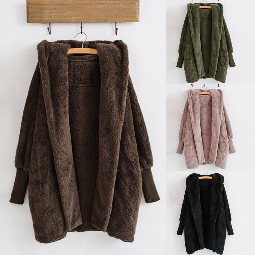 Women Hooded Coat Winter Warm Plush Pockets Cotton Coat Outwear Casual Hoodies Jacket Overcoat Top female outerwear 1