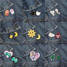 Модная Милая брошь в 9 стилях, булавка в форме Луны, солнца, сердца, рождественской елки, кошки, когтя, значок, рубашка, юбка, лацкан, аксессуары для пар
