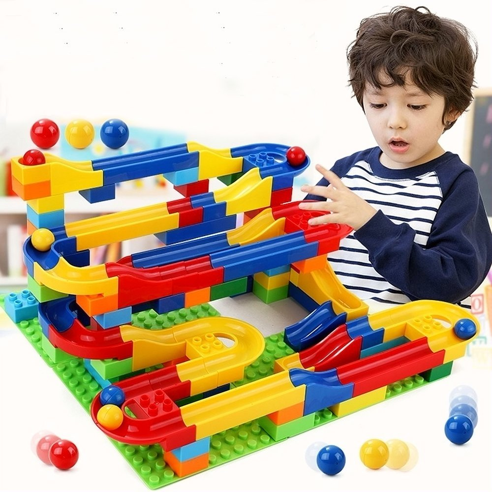 Marble Game Blocks : Pcs marble run coaster with building blocks and race