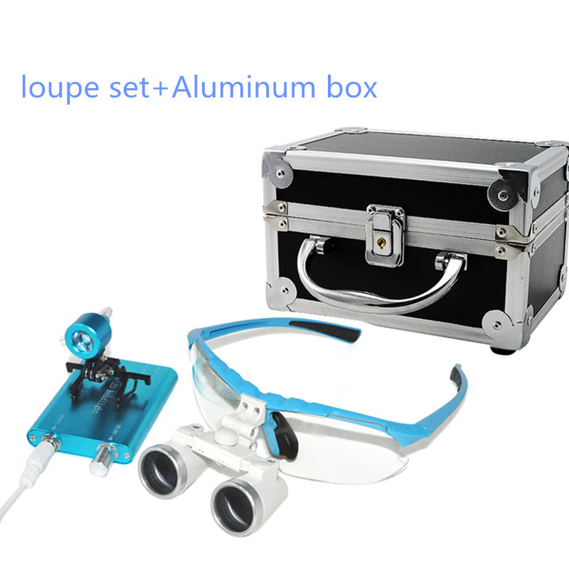 Blue New Dentist Dental Surgical Medical Binocular Loupes 3.5X 420mm Optical Glass Loupe Portable Light Clip+Aluminum Box dentist medical binocular dental surgical loupes 2 5x glasses magnifier ultra light 420 w clip