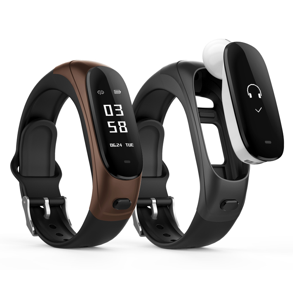 Wristband Fitness Tracker Answer Phones Wireless Earphone Blood Pressure Heart Rate Monitor Calls Alert Smart Bracelet Watch #CO bluetooth smart wrist watch blood pressure watches bracelet heart rate monitor smart fitness tracker wristband for android ios