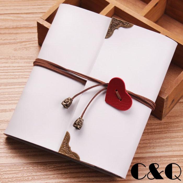 Cq Diy Photo Album Pu Cover Heart Style Sticky Type Wedding Kids