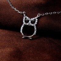 BUYEE Cute Owl Pendant Necklace Charm Zircon Animal Choker Necklaces Pendants Fine 925 Sterling Silver Jewelry
