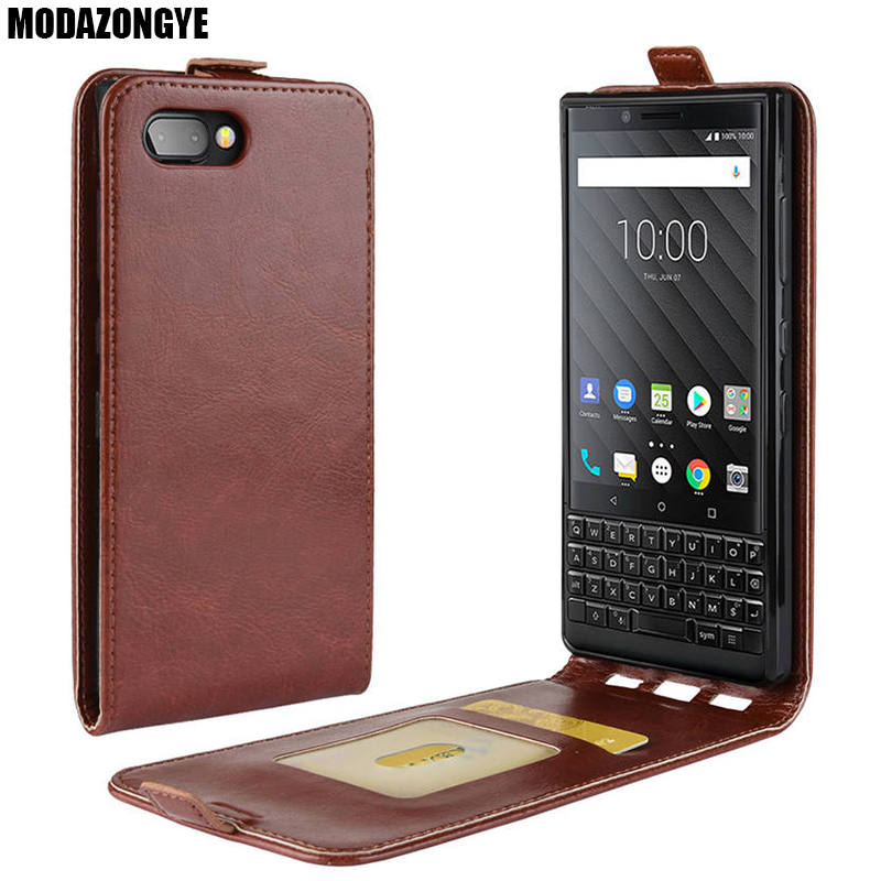 Leather Protective case in Black kalibri Flip case Ultra Slim Cover for BlackBerry KEYtwo Key2