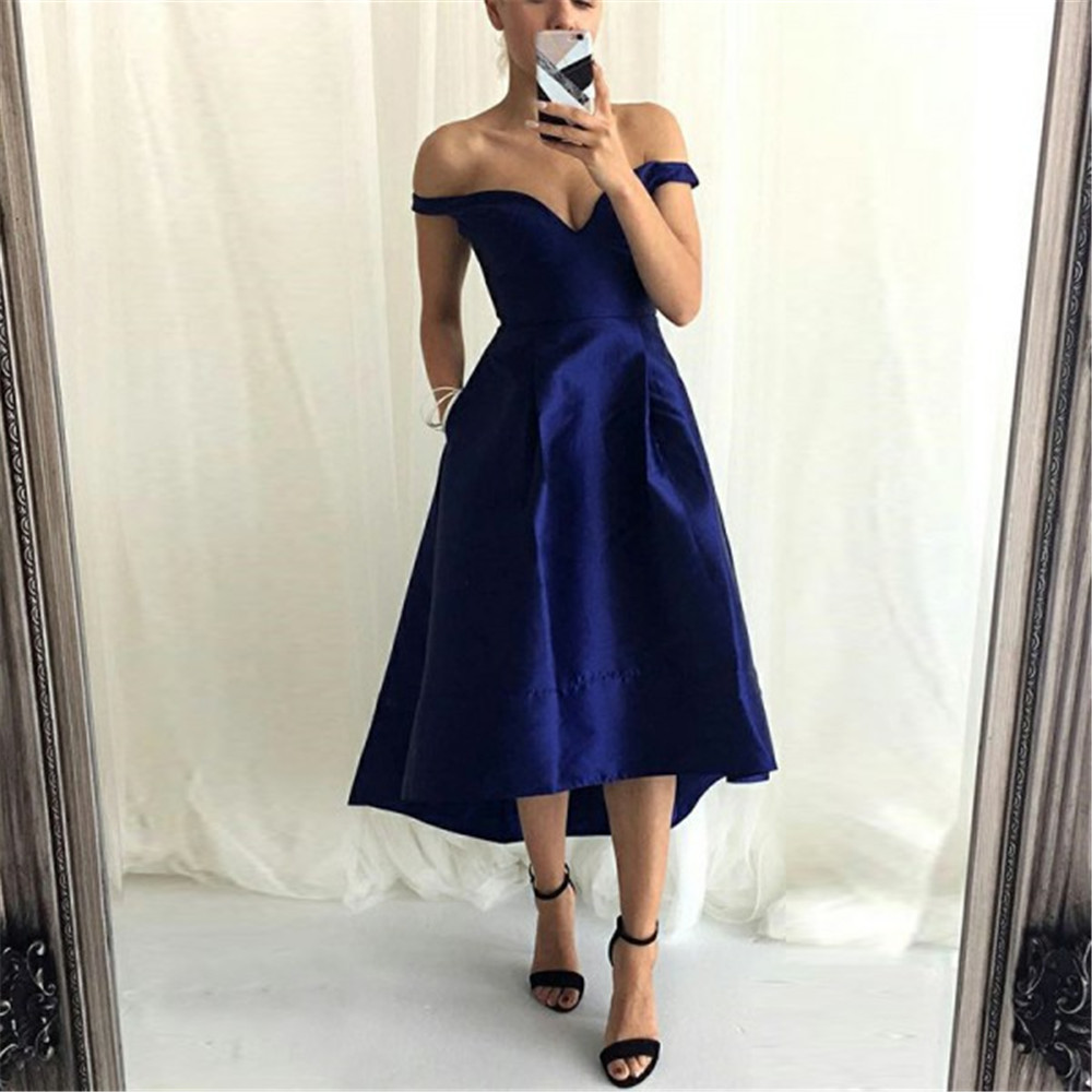 Royal Blue High Low Satin Short   Bridesmaid     Dresses   Boat Neck Off The Shoulder Simple Wedding Party Women Gowns Vestido Madrinha
