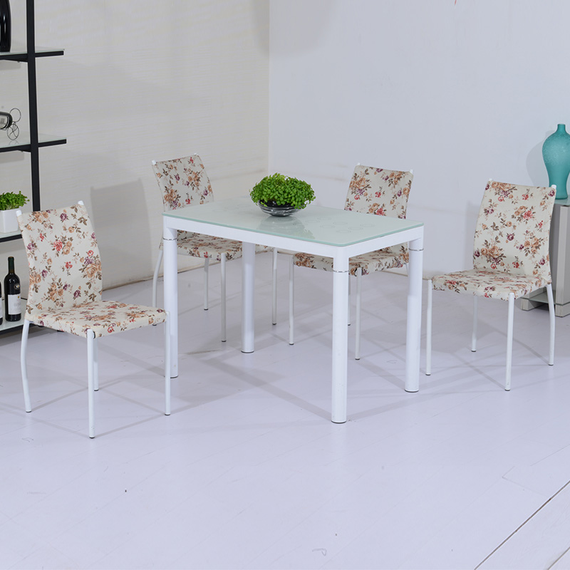 Dining Table (Without chairs),Tempered Glass Table Top,Rectangular Dining Table,Round Legs Dining Table new pe rattan dining chairs with tempered glass