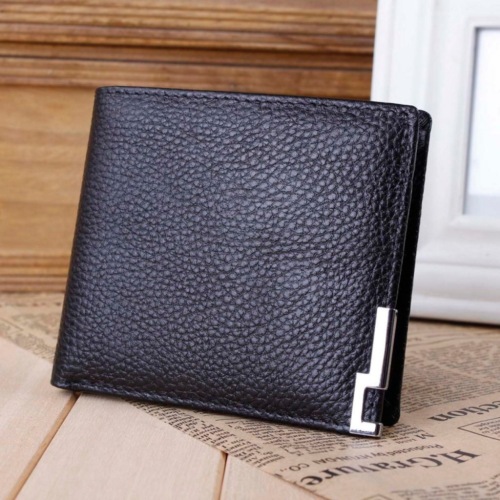 new Men's Casual Slim First layer of Genuine/cowhide Leather Iron Edge money clip/Wallets/purse free shipping MQB88