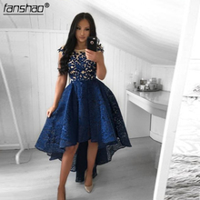 Sexy High low Lace Navy Homecoming Dresses 2019 Short Sleeves Formal Party Dresses Lace Embroidery vestido graduacion navy lace hollow out short sleeves mini dresses with lace up design