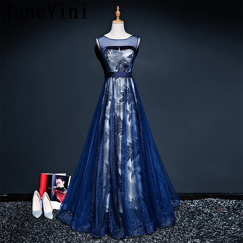 JaneVini Elegant Tulle Long   Bridesmaid     Dresses   Sheer Scoop Neck Floral Print Sleeveless Floor Length Vestidos Longos De Festa