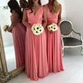 A-line Spaghetti Straps V Neck Backless Sexy Bridesmaid Dresses Long Jersey robe demoiselle d'honneur SAU384