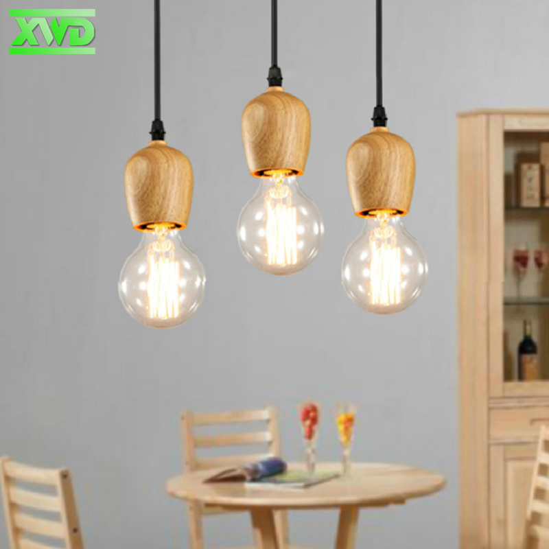 Modern Wooden American Single Wooden Pendant Lamp Coffee House/Dining Hall/Club/Foyer/BookSoter E27 Lamp Indoor Light DD60 loft american edison vintage industry crystal glass box wall lamp cafe bar coffee shop hall store club