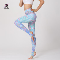 Women Yoga Pants High Waist Floral Printed Leggings Elastic Sport Pants Fitness Gym Workout Running Female