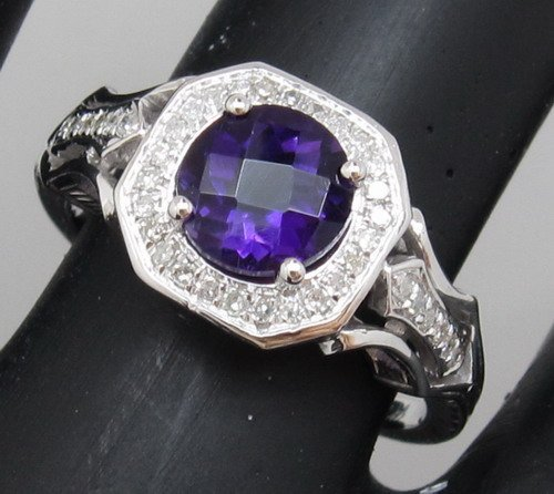 Wholesale Jewelry SOLID 14K GOLD NATURAL AMETHYST DIAMOND ENGAGEMENT RING