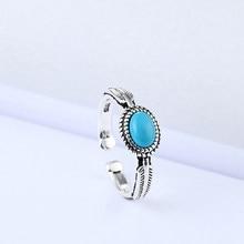 XIYANIKE – bague ronde ouverte en argent Sterling 925 pour femme, bijou de Style coréen en pierre de cristal bleu ciel, zircone cubique, cadeau de Banquet
