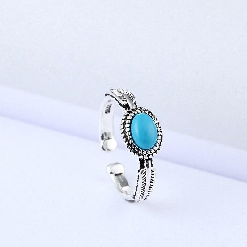 XIYANIKE, Plata de Ley 925, estilo coreano, piedra de cristal azul cielo, anillo abierto redondo, Zirconia cúbica para mujeres, regalo de joyería, banquete