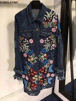 FOMOLAYIME New Designer Denim Jackets Women 2018 High Fashion Floral Embroidery Hole Long Jackets Coats