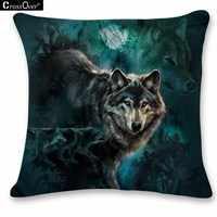 Hot Sale 3D Animal Wolves Cushion Cover Throw Pillowcase Cushion Home Decor Back Pillow For Car