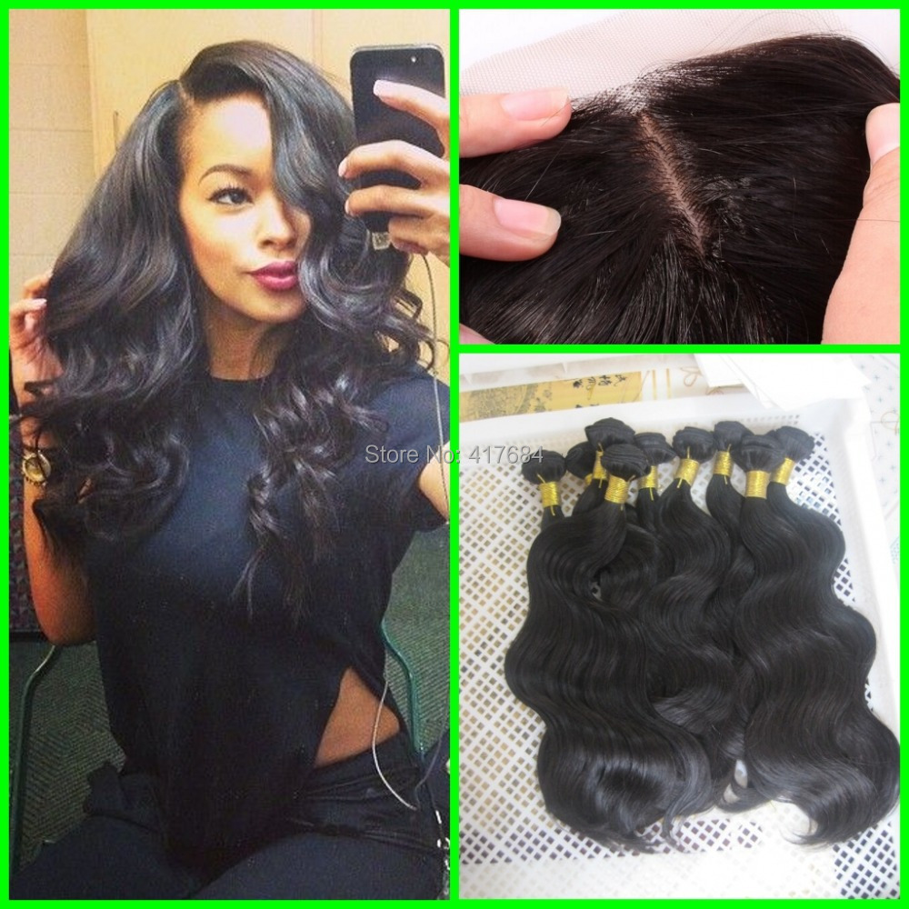 3 Weaves And 1 Silk Base Closure Cheap 6a Virgin Brazilian Human