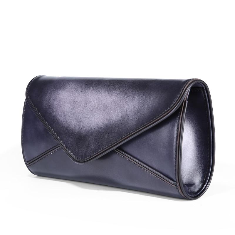 TERSE_Brand Handmade Calfhide Leather Bag For Women Ladies Clutch Bag Purple Vintage Purse Exclusive Design Logo Portfolio 091 customized new exclusive design handmade