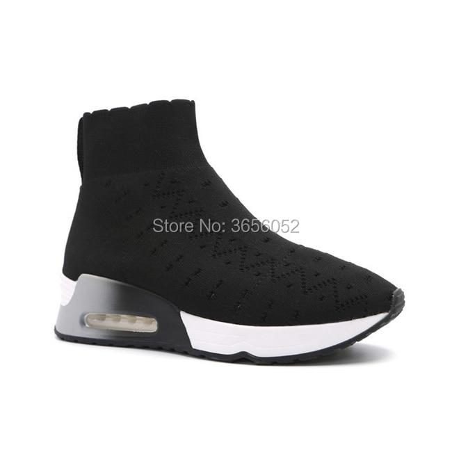 Sneakers Floral Plat Sur Talon Épais Wedge Qianruiti Bottes Noir Casual Plate Tricoté Black Botas Femmes Chaussures Chaussette Slip Extensible Mujer forme Les dfaOnwzOx