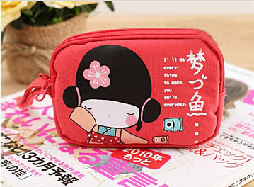 5 pcs of BEAU New Cute Japanese Girl Printing Canvas Coin wallet women Phone Bag Double Zipper Purse Coin Bag Red
