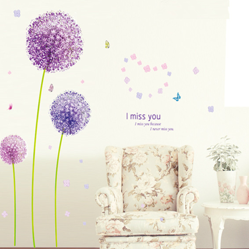 Purple dandelion creative romantic home furnishing wall of bedroom walls can remove wall stickers