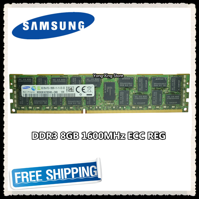 Samsung server memory DDR3 8GB 16GB 1600MHz ECC REG DDR3 PC3-12800R Register DIMM RAM 12800 8G 2RX4 X58 X79 image