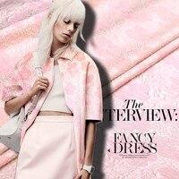 Pink jacquard fabric designer super beautiful gradient effect of silk jacquard fashion fabric dress
